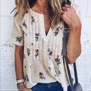 Floral v neck blouse